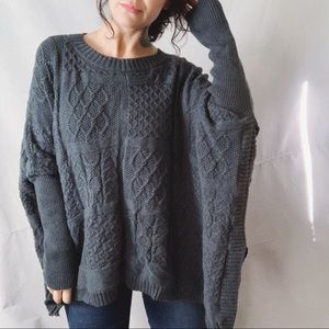CABI Cable Knit Wool Poncho Charcoal Grey Large